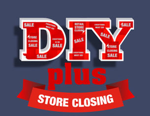 Red letters above red plus and red banner, all about DIY plus store closing plan, offered by CCH Consulting LLC, premier retailstoreclosing plans consultant