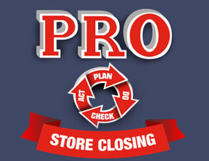 Red letters above red arrowed circle and red banner, all about ProPlan store closing plan, offered by CCH Consulting LLC, premier retailstoreclosing plans consultant